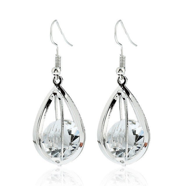 Silver Gold Crystal Drop Earring LB