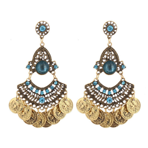 Tassel Crystal Coin Hollow Earring LB