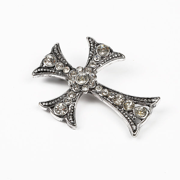 Crystal X Antique silver Metal  Brooch pin - 786shop4you