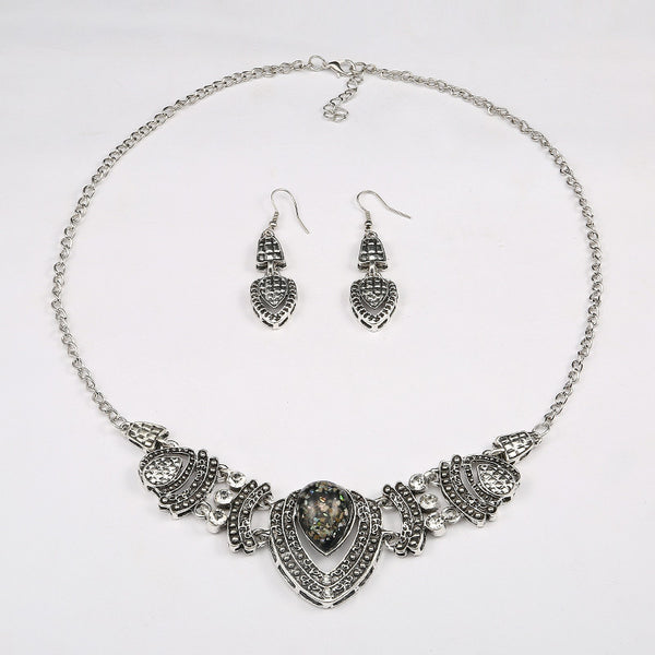 Shell Effect Crystal Necklace Earring