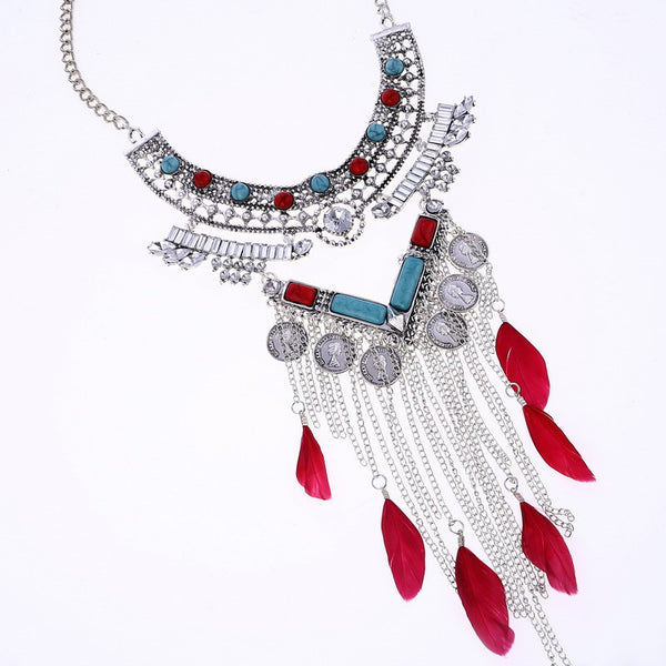 Egyptian z3 Coin Feather Chain Tassel Necklace DLT - 786shop4you