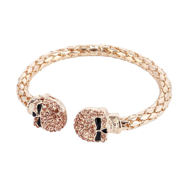 Double Skull Cuff Bracelet Bangle - 786shop4you