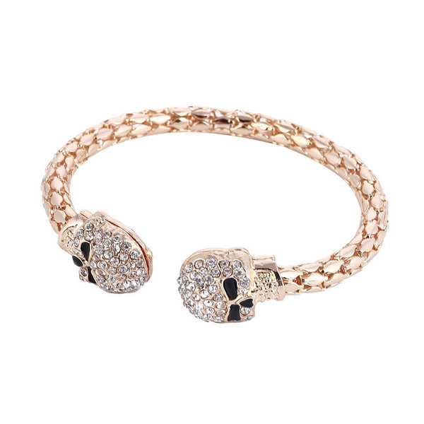 Double Skull Cuff Bracelet Bangle LB - 786shop4you