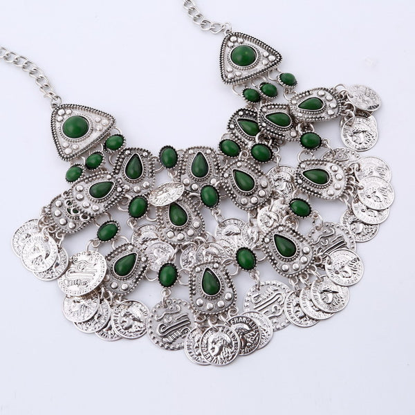 Antique Silver Coins Necklace DLT - 786shop4you