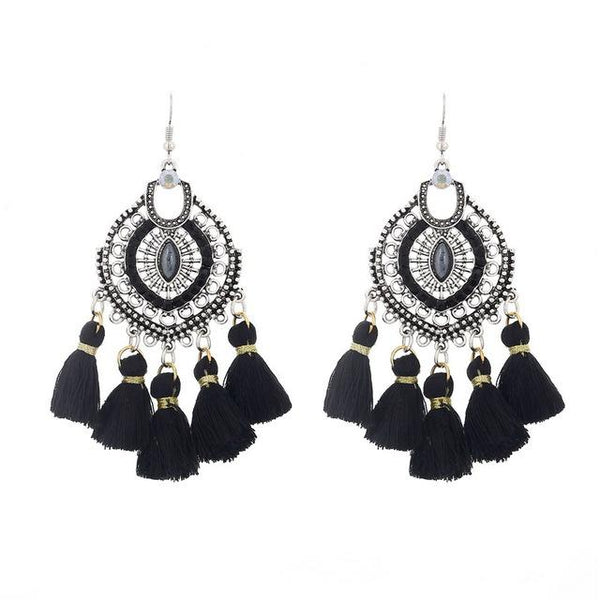 Crystal Tassel Dangle Earring Black LB - 786shop4you