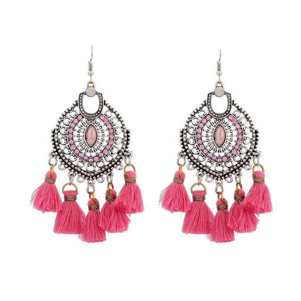 Crystal Tassel Dangle Earring  Pink - 786shop4you