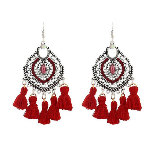 Crystal Tassel Dangle Earring Red - 786shop4you