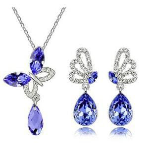 Austrian Crystal Butterfly Pendant Necklace Set DLT - 786shop4you