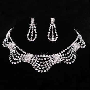 Rhinestone Multilayer Crystal  Necklace Set DLT