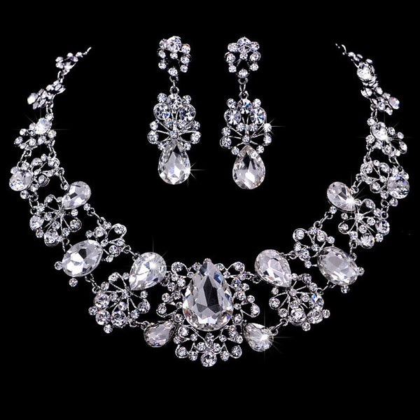 Silver Plated Crystal Necklaces Earring Set DLT