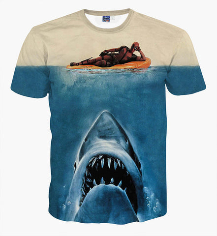 Men's 3D Summer Short Sleeve T-shirt Shark
