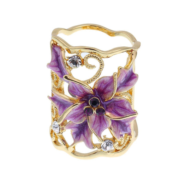Gold Plated Flower Scarf Buckle Brooch - 786shop4you