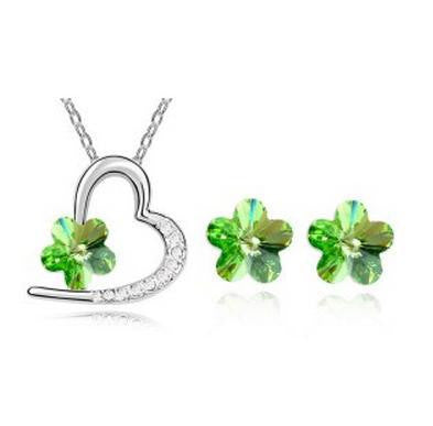 Austrian Crystal  Love Heart Plum Necklace Set - 786shop4you