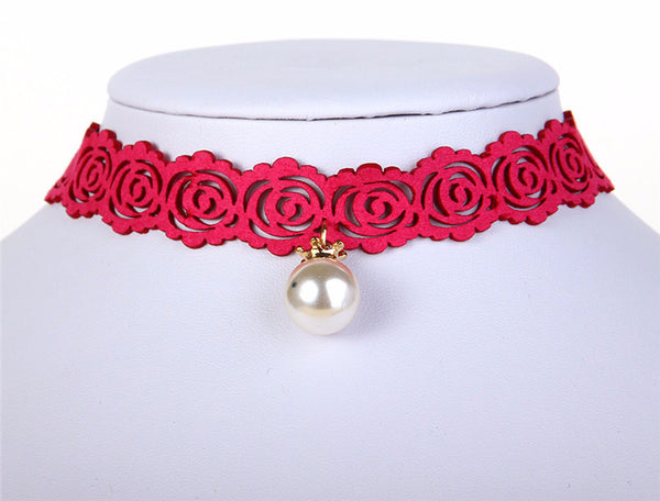 "Choker Necklace Rose Pearl Collar Necklace Short for Women Fashion Jewelry 11"" + 2.5"" Extender Bohemian Necklaces 403101529 - 786shop4you"