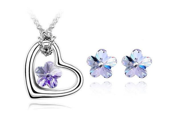 Flower Heart Crystal Necklace Set