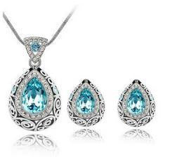 Crystal Water Drop Necklace Set - 786shop4you