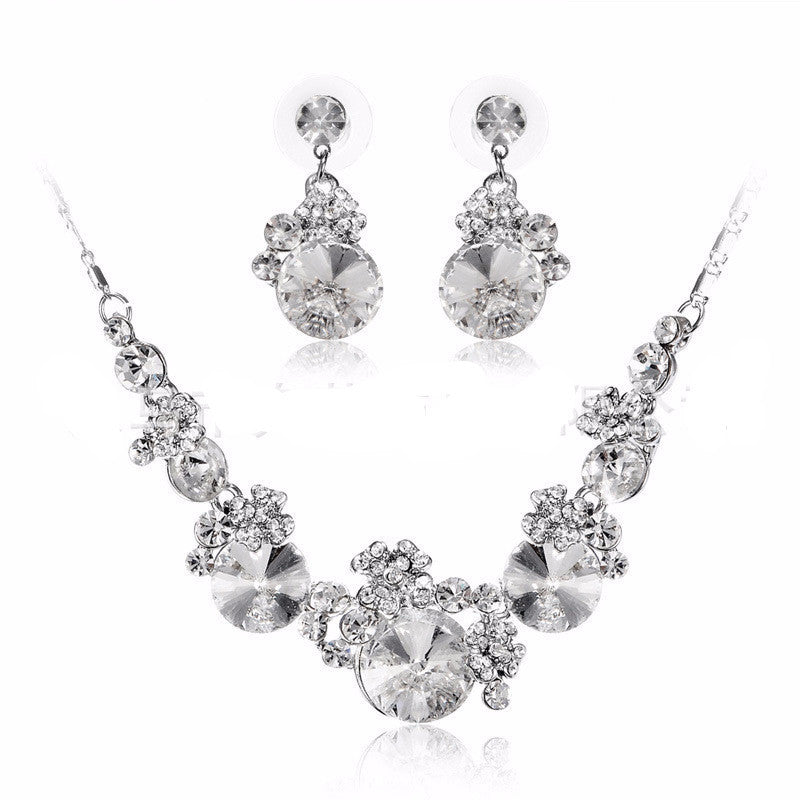 Romantic Crystal Water Drop Necklace Set