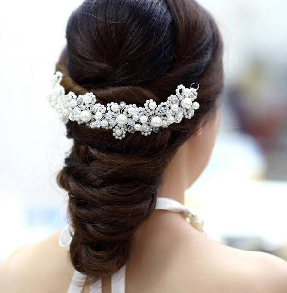 Crystal Plant Pearl Wedding Tiara - 786shop4you