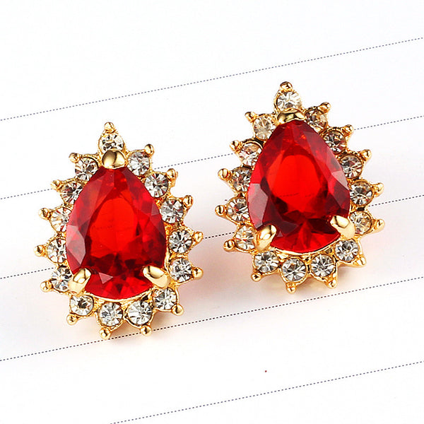 Red Gem Crystal Earring - 786shop4you