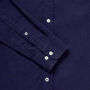 Men's Navy Blue Cotton & Wool Collarless Shirt