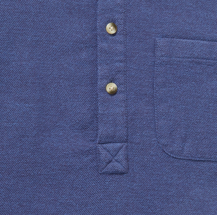Men's Blue Brushed Cotton Popover Shirt
