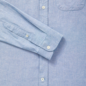 Mens Chambray Blue Cotton Collarless Shirt - Fitz & Fro