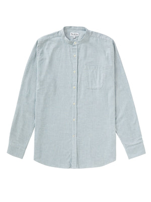 Brushed Cotton Collarless Shirt - Blue/White Houndstooth