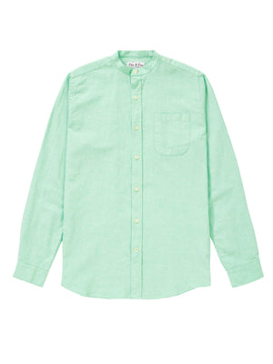 Mens Light Mint Cotton/Linen Collarless Shirt - Fitz & Fro
