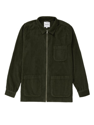 Dark Olive Cord Zip-Up Overshirt - Fitz & Fro