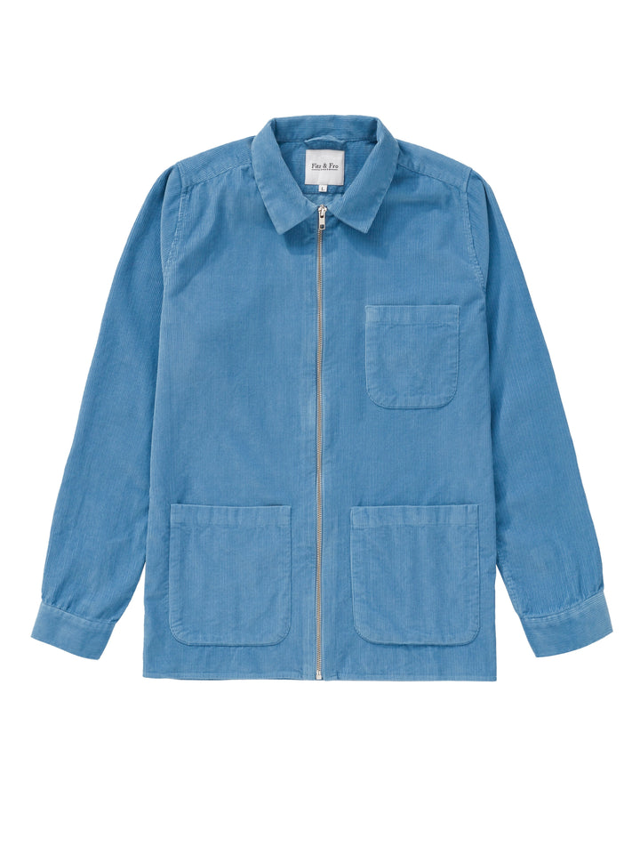 Dusty Blue Cord Zip-Up Overshirt - Fitz & Fro