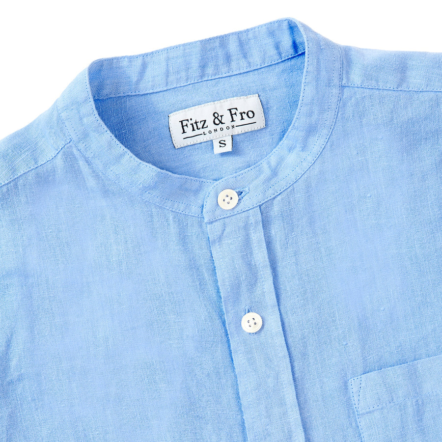 100% Linen Popover Shirt - Cornflower Blue