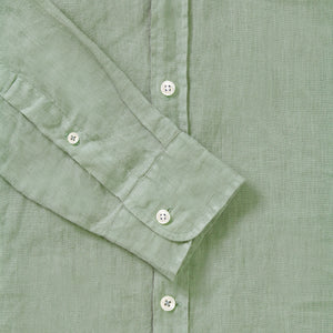 100% Linen Collarless Shirt - Sage Green