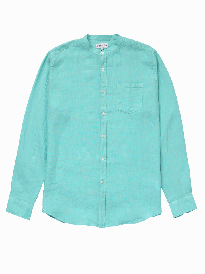 Men's Turquoise 100% Linen Collarless Shirt