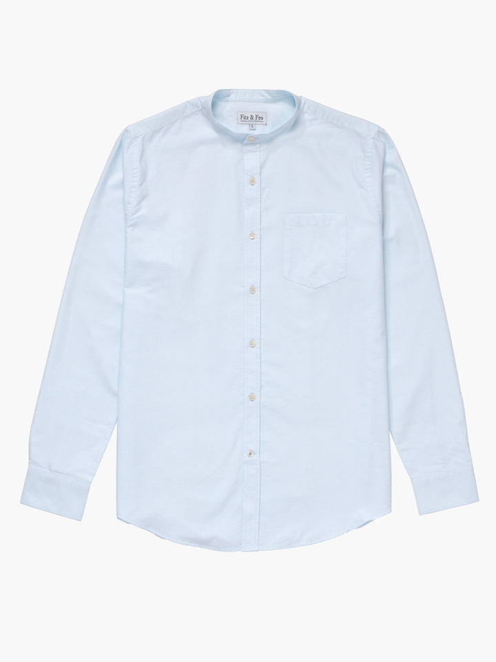 Men's Light Blue Oxford Cotton Collarless Shirt