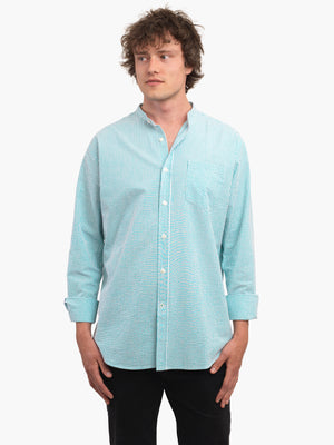 Men's Green & White Seersucker Collarless Shirt