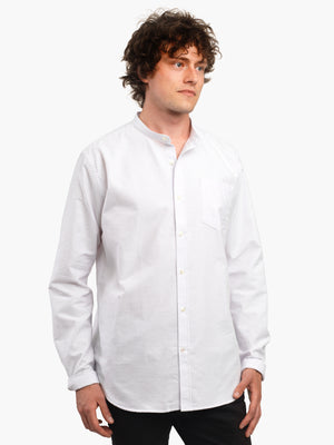 Men's Lilac & White Oxford Cotton Collarless Shirt