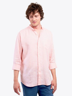 Men's Pink 100% Linen Collarless Shirt