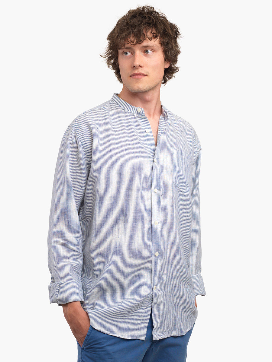 Men's Navy & White 100% Linen Collarless Shirt