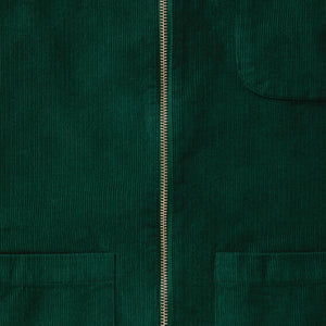 Bottle Green Cord Zip-Up Overshirt - Fitz & Fro