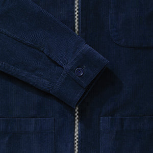 Navy Blue Cord Zip-Up Overshirt - Fitz & Fro