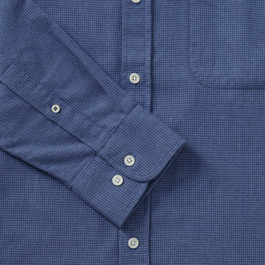 Brushed Cotton Collarless Shirt - Blue Houndstooth