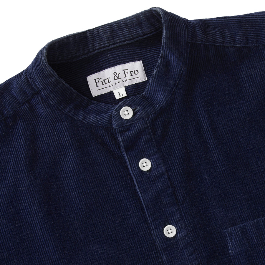 Cord Popover Shirt - Navy Blue