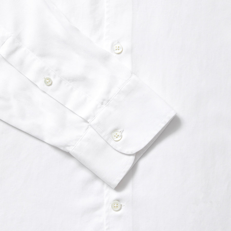 Tencel Collarless Shirt - White
