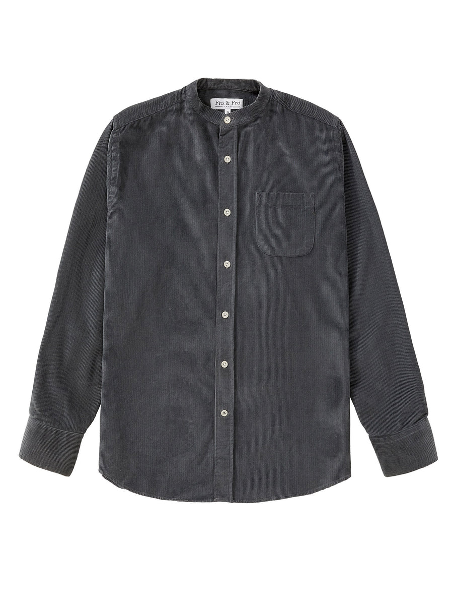 Cord Collarless Shirt - Charcoal Grey
