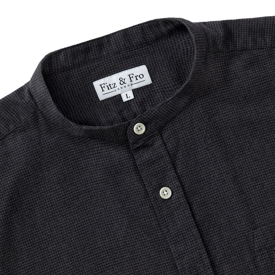 Brushed Cotton Collarless Shirt - Dark Grey Houndstooth
