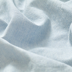 Cotton Collarless Shirt - Blue/White Stripe
