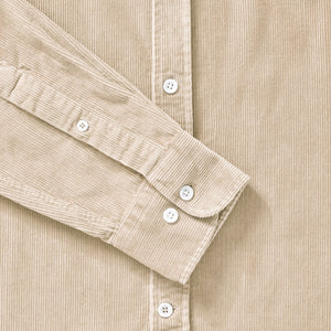 Cord Collarless Shirt - Light Stone