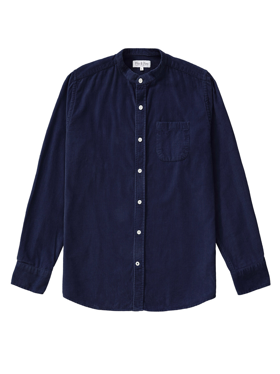 Navy Blue Cord Collarless Shirt - Fitz & Fro