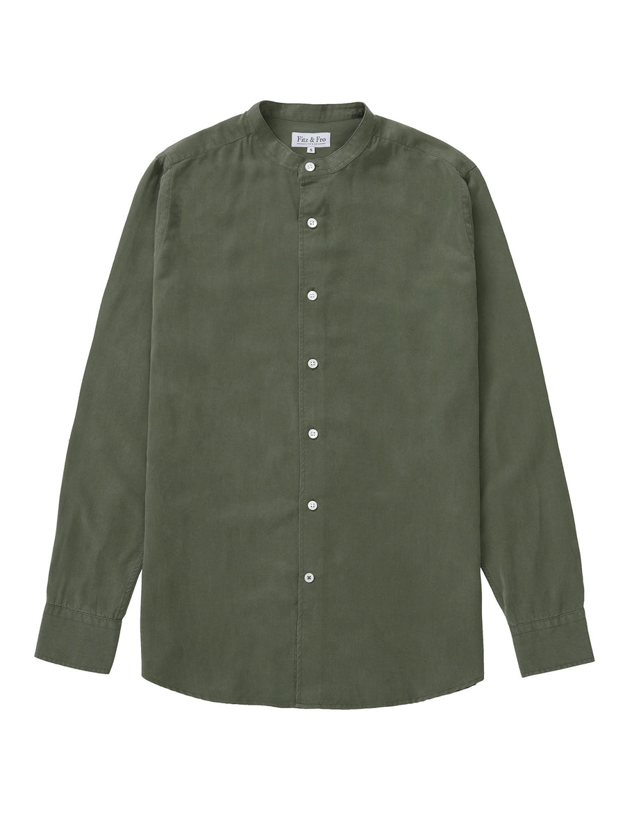 Tencel Collarless Shirt - Moss Green