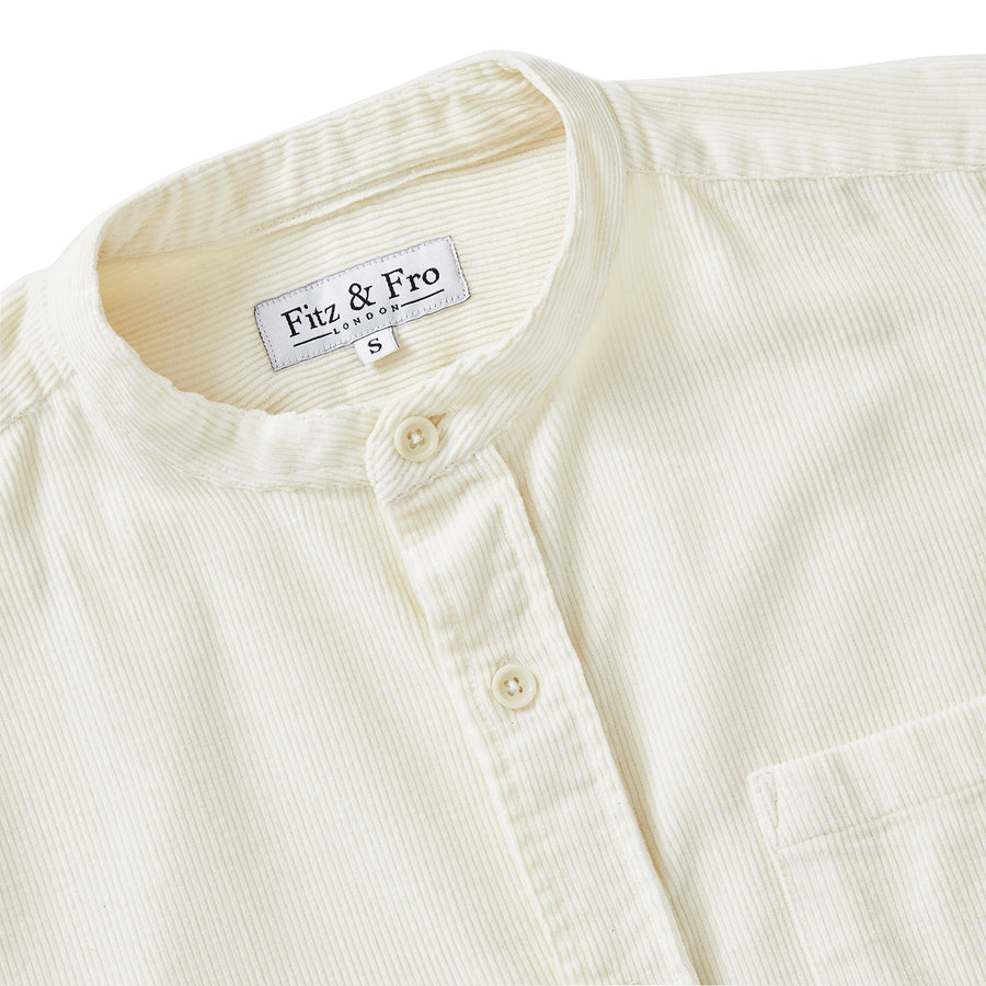 Cord Collarless Shirt - Ivory White